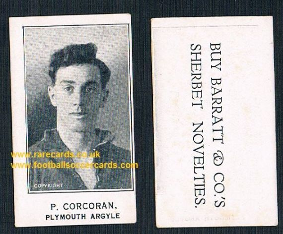 1925 Barratt & Co P. Corcoran Plymouth Argyle footballer card Sherbet Novelties variety